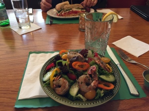 House salad with shrimp and Nina's bear sandwich, Old World Mediterranean, Concord NH. Photo: Alexis Simpson